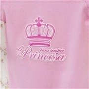 Body Manga Longa Princesa Rosa 3 a 6 Meses