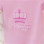 Body Manga Longa Princesa Rosa 6 a 9 Meses