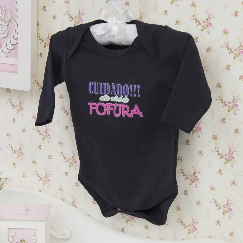 Body Manga Longa Alto Nível de Fofura Preto Recém-nascido a 3 meses