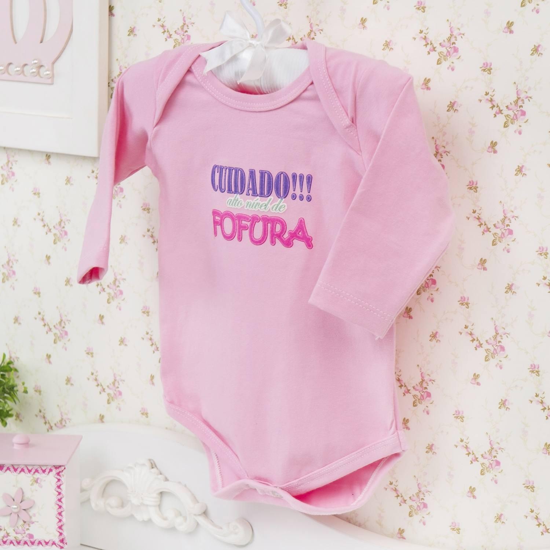 Body Manga Longa Alto Nível de Fofura Rosa Recém-nascido a 3 meses
