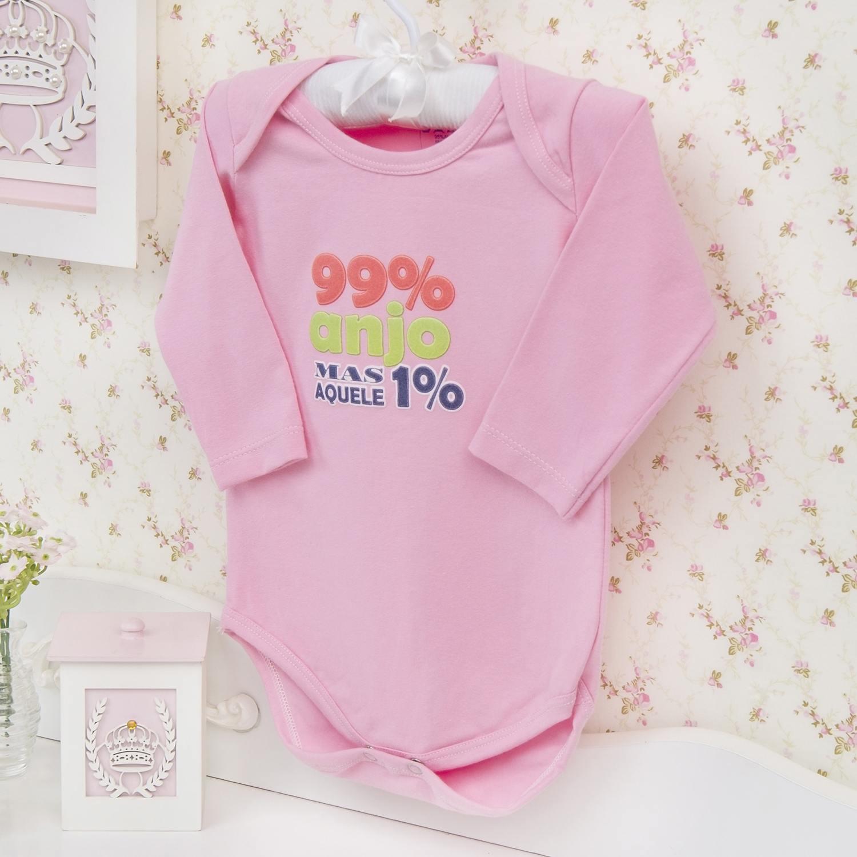 Body Manga Longa Aquele 1% Rosa Recém-nascido a 3 meses