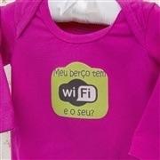 Body Manga Longa Meu Berço Tem Wi-Fi Pink 6 a 9 Meses