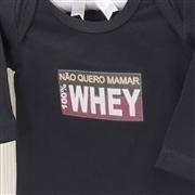 Body Manga Longa 100% Whey Preto Recém-nascido a 3 meses