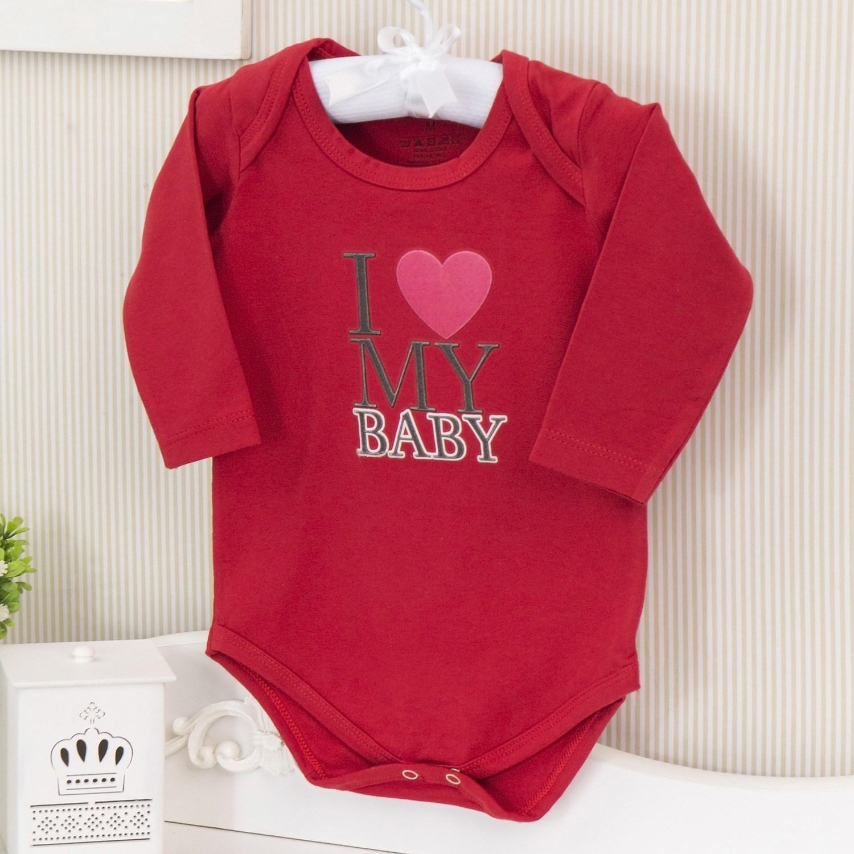 Body Manga Longa I Love My Baby Vermelho Recém-nascido a 3 meses