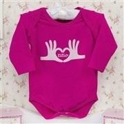 Body Manga Longa Eu amo o Titio Pink Recém-nascido a 3 meses