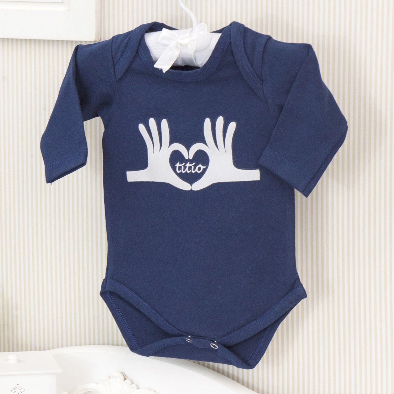 Body Manga Longa Eu amo o Titio Marinho Recém-nascido a 3 meses