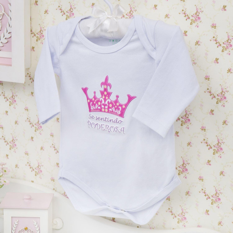 Body Manga Longa Se sentindo Poderosa Branco Recém-nascido a 3 meses
