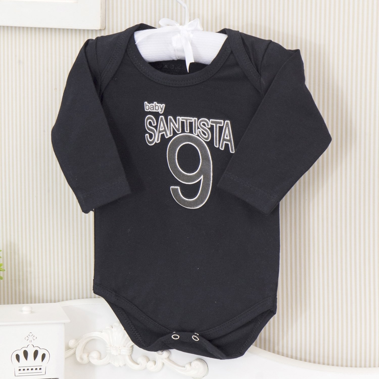 Body Manga Longa Santista Preto Recém-nascido a 3 meses