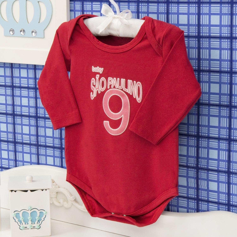 Body Manga Longa São Paulino Vermelho Recém-nascido a 3 meses