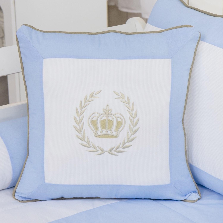 Almofada Bordada Realeza Luxo Azul