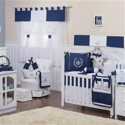 Quarto para Bebê sem Cama Babá Realeza Luxo Marinho