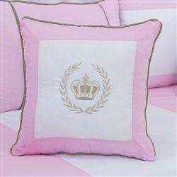 Almofada Bordada Realeza Luxo Rosa