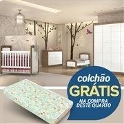 Quarto para Bebê Íris Amadeirado com Berço/Cômoda/Guarda Roupas de 4 Portas