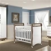 Quarto para Bebê Selena Amadeirado com Berço/Cômoda/Guarda Roupas de 4 Portas