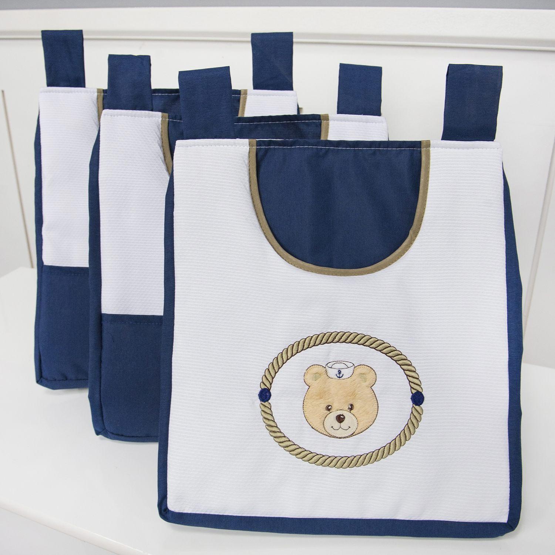 Porta Fraldas Varão Elegance Ursinho Marinheiro Marinho