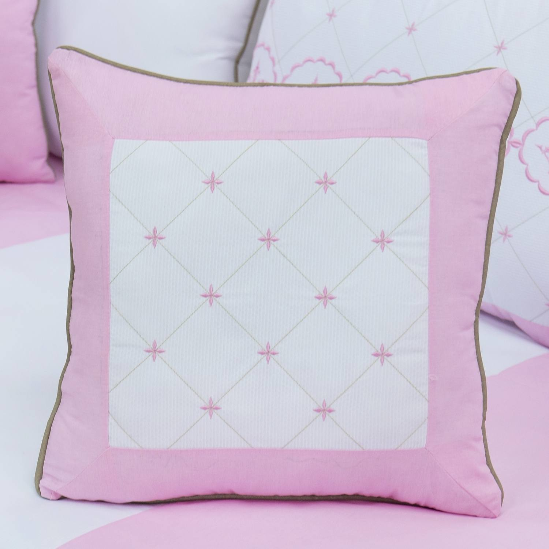 Almofada Bordada Elegance Coroa Rosa