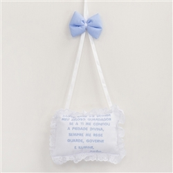 Enfeite Oração Santo Anjo Elegance Teddy Azul