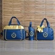 Conjunto de Bolsas Maternidade Milão Inicial do Nome Personalizada Marinho e Dourado