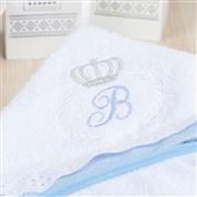 Toalha de Banho Iniciais de Nome Personalizado Azul