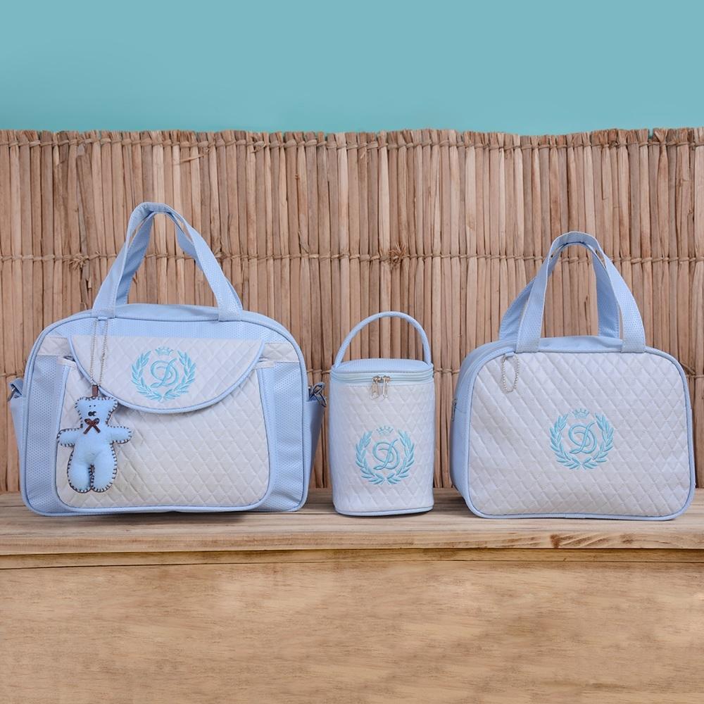 Conjunto de Bolsas Maternidade Valência Inicial do Nome Personalizada Azul Bebê