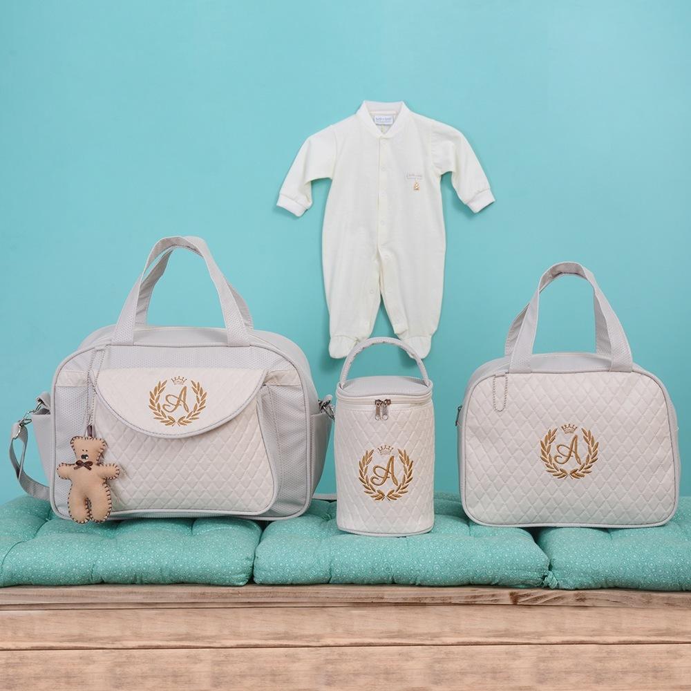 Conjunto de Bolsas Maternidade Valência Inicial do Nome Personalizada Bege