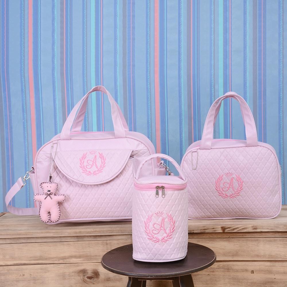 Conjunto de Bolsas Maternidade Valência Inicial do Nome Personalizada Rosa