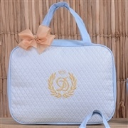 Conjunto de Bolsas Maternidade Valência Inicial do Nome Personalizada Azul e Dourado