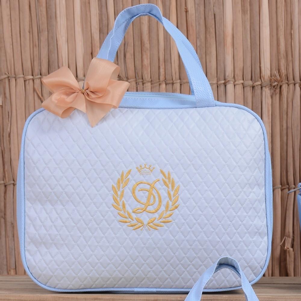 Mala Maternidade Valência Inicial do Nome Personalizada Azul e Dourado