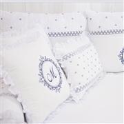 Almofadas Decorativas Marselle Marinho com Inicial do Nome Personalizada