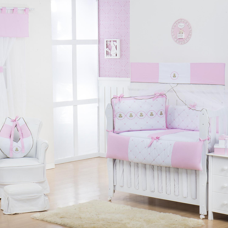Quarto Econômico para Bebê sem Cama Babá Elegance Teddy Rosa