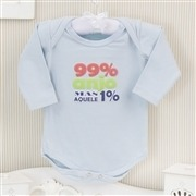 Body Manga Longa Aquele 1% Azul Recém-nascido a 3 meses