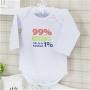 Body Manga Longa Aquele 1% Branco Recém-nascido a 3 meses