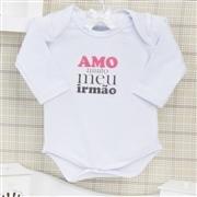Body Manga Longa Amo Muito Meu Irmão Branco Recém-nascido a 3 meses