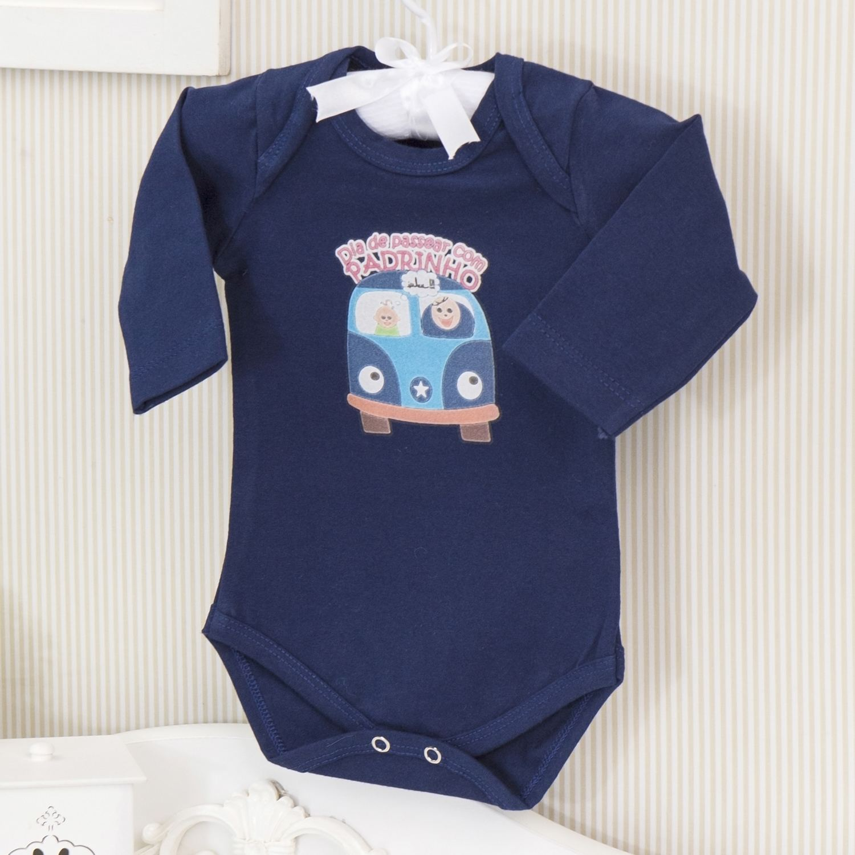 Body Manga Longa Passeio com o Padrinho Marinho Recém-nascido a 3 meses