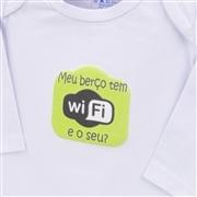 Body Manga Longa Meu Berço Tem Wi-Fi Branco Recém-nascido a 3 meses