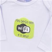 Body Manga Longa Meu Berço Tem Wi-Fi Branco 9 a 12 meses