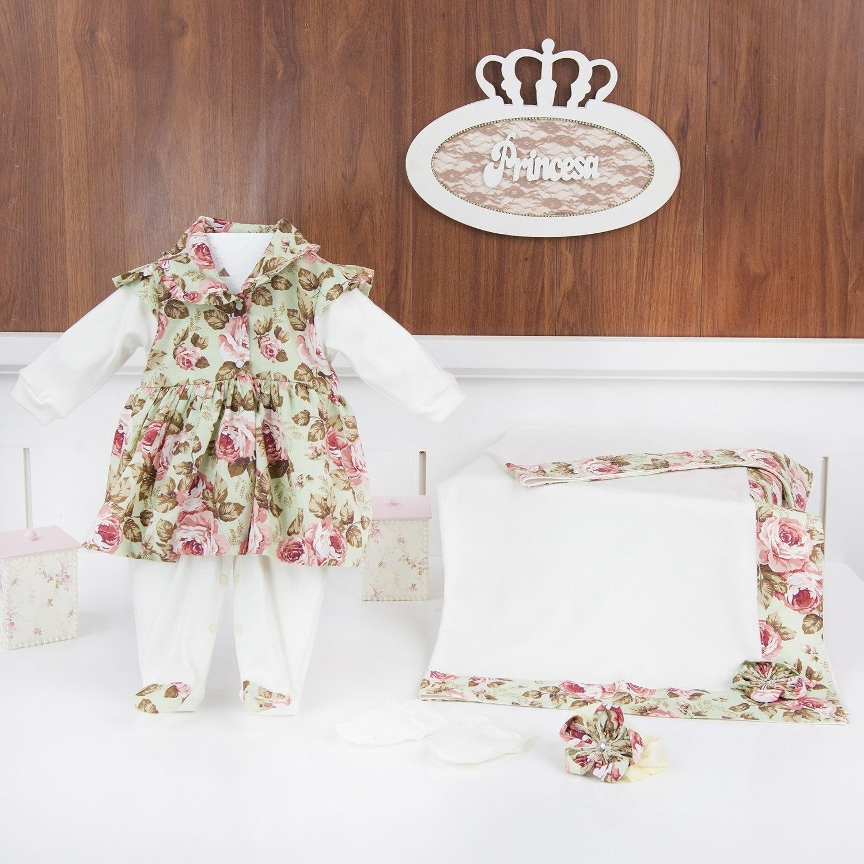 Saída Maternidade Butterfly Floral Verde - Tamanho Único