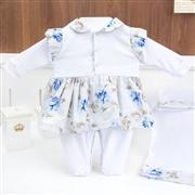 Saída Maternidade Renata Floral Azul - Tamanho Único