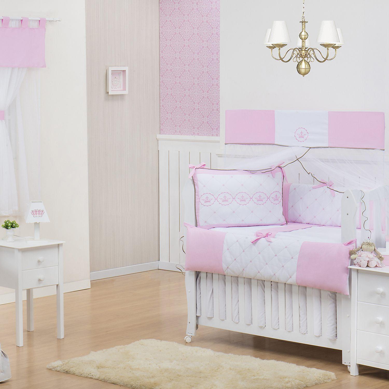 Quarto Econômico para Bebê sem Cama Babá Elegance Coroa Rosa