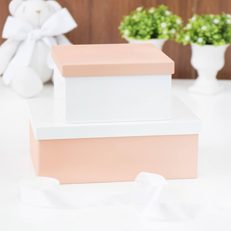Conjunto de Caixas Organizadoras de Madeira Salmão e Branco