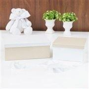 Conjunto de Caixas Organizadoras de Madeira Palha e Branco