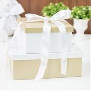 Conjunto de Caixas Organizadoras de Madeira Cáqui e Branco