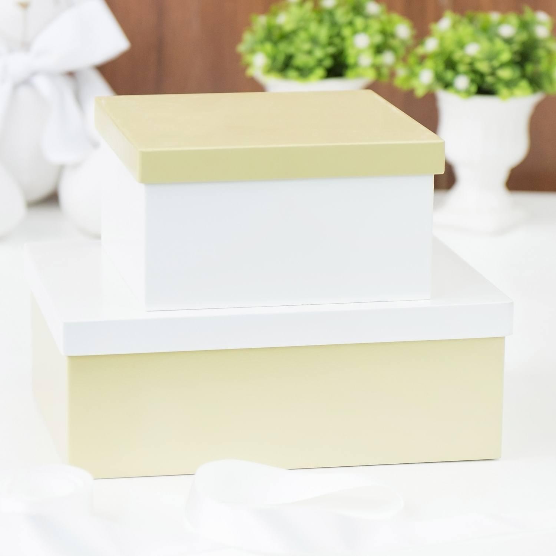Conjunto de Caixas Organizadoras de Madeira Dourado e Branco