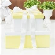 Conjunto de Caixas Organizadoras de Madeira Amarelo e Branco