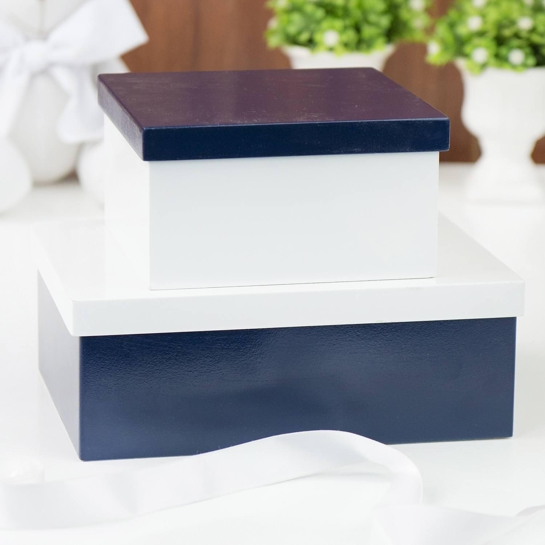 Conjunto de Caixas Organizadoras de Madeira Marinho e Branco