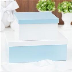 Conjunto de Caixas Organizadoras de Madeira Azul Bebê e Branco