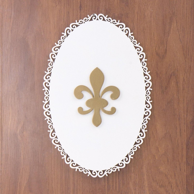 Quadro Decorativo Flor de Lis Dourada