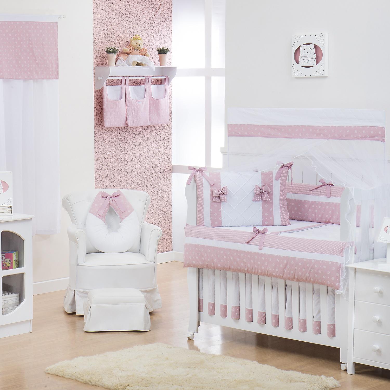 Quarto para Bebê sem Cama Babá Nobreza Rosa Antigo