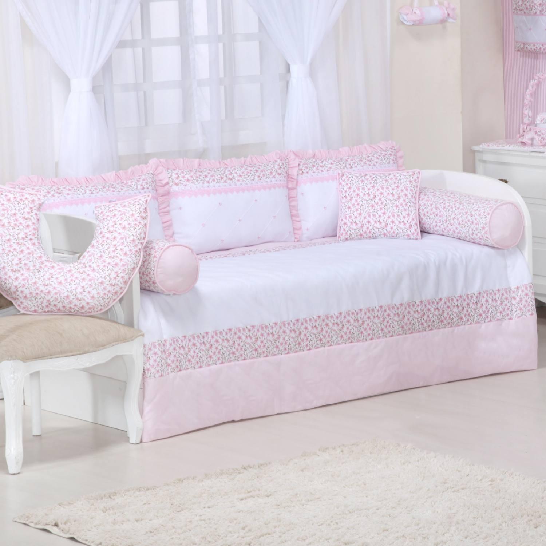 Kit Cama Babá Floral Rosa