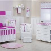 Quarto para Bebê sem Cama Babá Casinha dos Pássaros Pink
